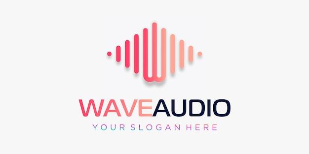 パルス付きの文字w。波要素。ロゴテンプレート電子音楽、イコライザー、ストア、dj音楽、ナイトクラブ、ディスコ。オーディオウェーブのロゴのコンセプト、マルチメディア技術をテーマにした、抽象的な形。 Premiumベクター