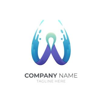 ウォータースプラッシュクリエイティブロゴデザインの文字w