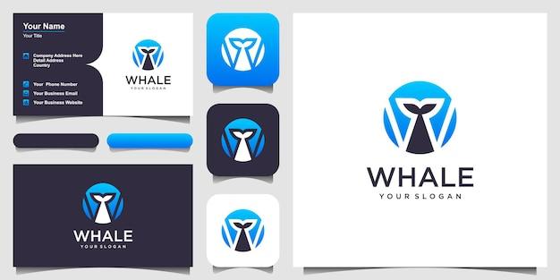 クジラのロゴデザインのインスピレーションと文字wベクトルグラフィックデザインテンプレート要素