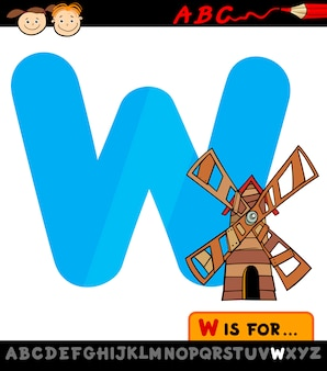 Letter w with windmill cartoon illustration