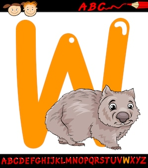 Letter w for wombat cartoon illustration