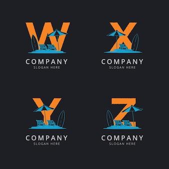 Буква wxy и z с шаблоном логотипа абстрактный пляж