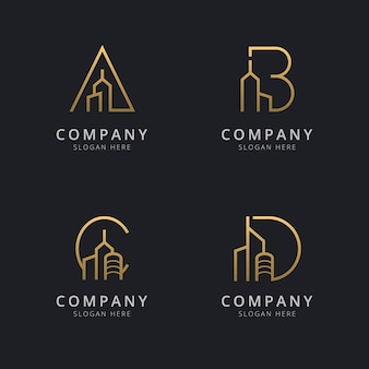 Letter with abstract building logo template
