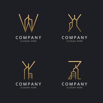 Письмо с абстрактным шаблоном логотипа здания