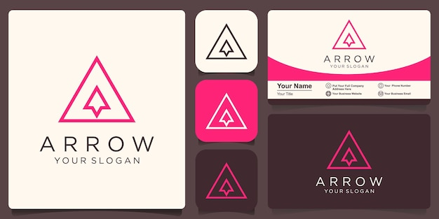 Letter a with arrow inside flat vector logo design template