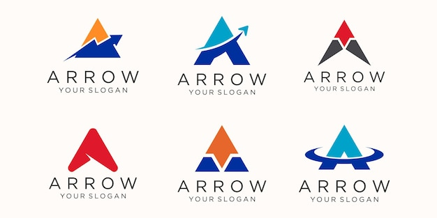 Letter a with arrow logo icon set.