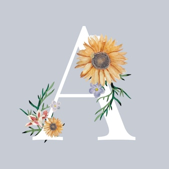 Letter a with blossoms