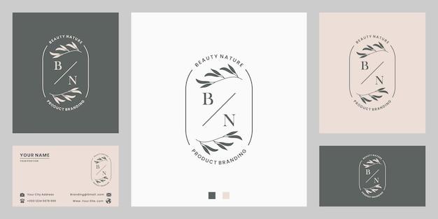 Letter with botanical floral foliage logo design for wedding invitation, branding, shop.