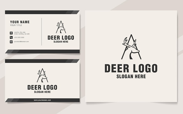 Letter a with deer logo template on monogram style
