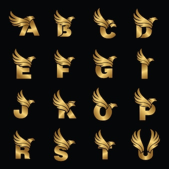 Letter with eagle gold logotype template