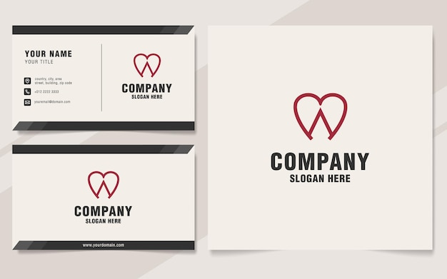 Letter a with love logo template on monogram style