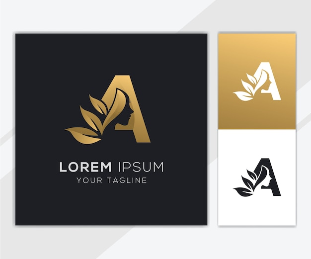 Letter a with luxury natural feminine beauty logo template