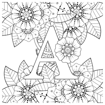 Letter a with mehndi flower decorative ornament in ethnic oriental style coloring book page