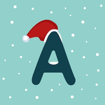 Letter a with snow and red santa claus hat. festive font for christmas and new year