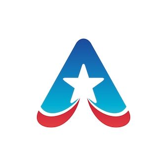Letter a with star logo template