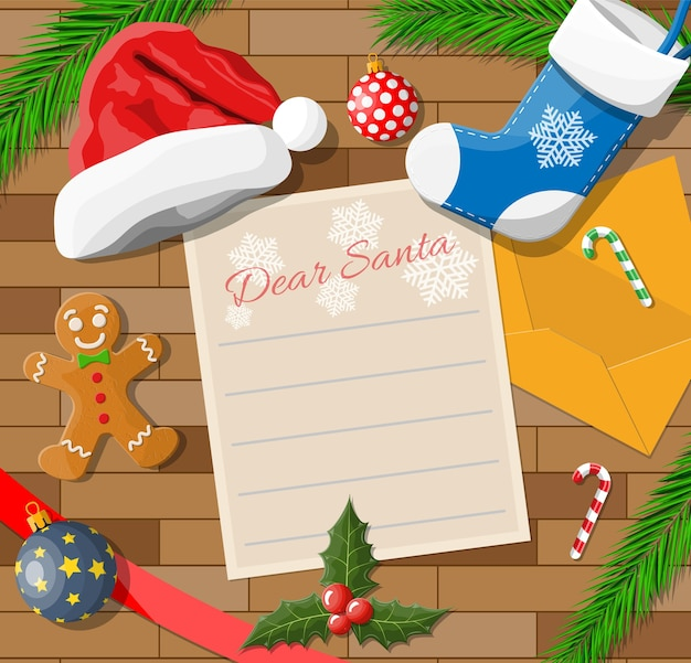 Letter with wishes to santa claus. wooden desk candycane, envelope, fur branches, holly, stocking, hat, gingerbread man. christmas new year eve xmas holidays.