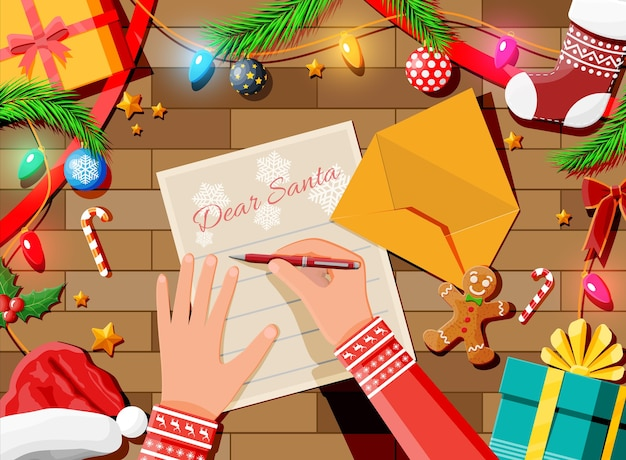 Letter with wishes to santa claus