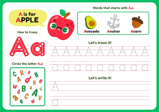 Letter a worksheet template