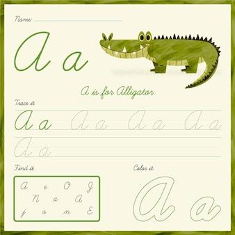 Letter a worksheet with alligator illustration