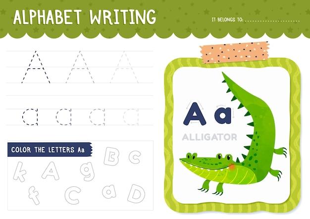 Letter a worksheet with alligator