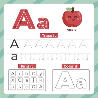 Letter a worksheet with apple