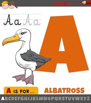 Letter a worksheet with cartoon albatross bird
