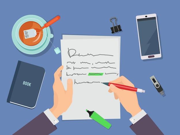 편지 쓰기. 저자 손에 연필을 들고 종이 개념에시를 작성합니다.