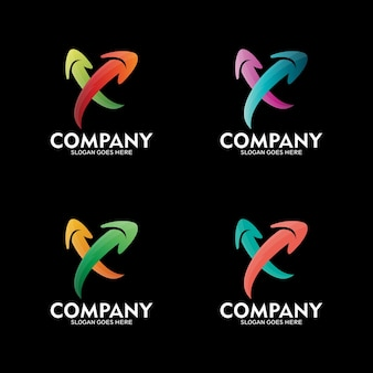 文字x矢印ロゴデザイン、ベクトルのロゴテンプレート