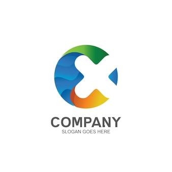 Letter x in circle shape logo design