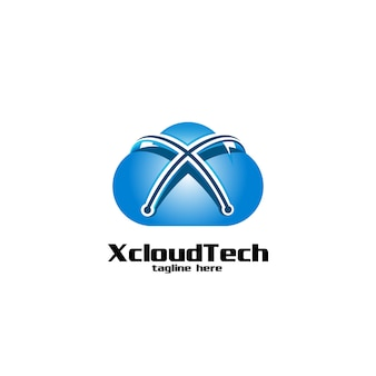 Letter x cloud and technology logo