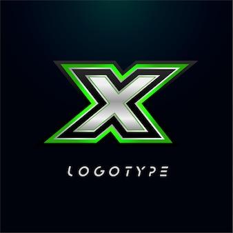 ビデオゲームのロゴとスーパーヒーローのモノグラムスポーツゲームのエンブレムの文字x大胆な未来的な文字