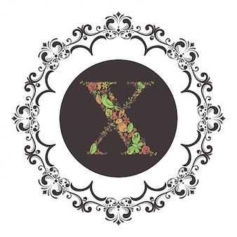 Letter x initial with floral vector