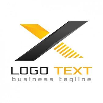 手紙xロゴ、黒と黄色の色
