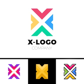 Letter x logo design concept with four arrow