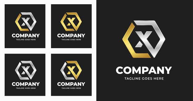 Letter x logo design template with geometric shape style