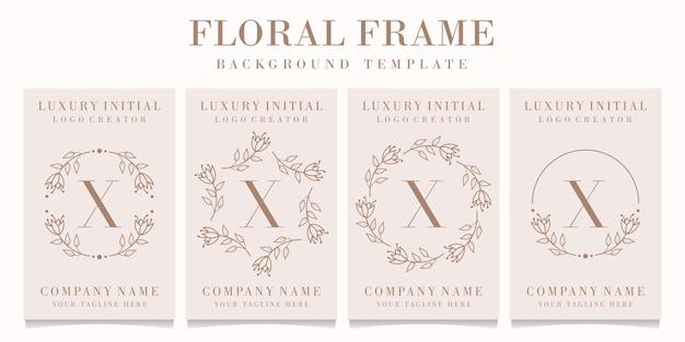 Letter x logo design with floral frame template