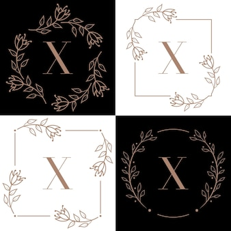 Letter x logo design with orchid leaf element