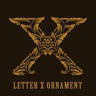 Letter x logo vintage ornament style