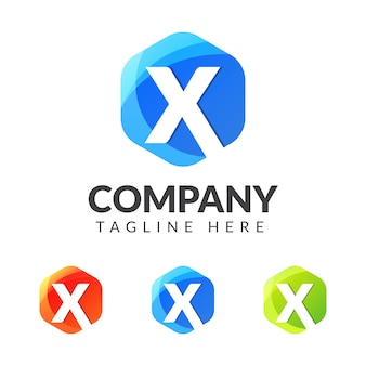 Letter x logo with colorful geometry design