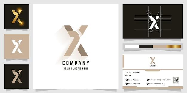 名刺デザインの文字xモノグラムロゴ