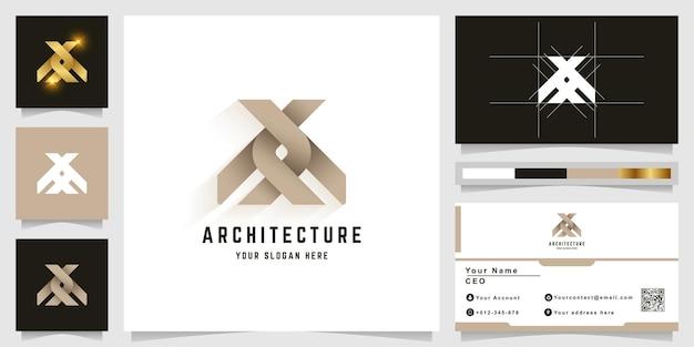文字xまたは名刺デザインのアーキテクチャaxモノグラムロゴ