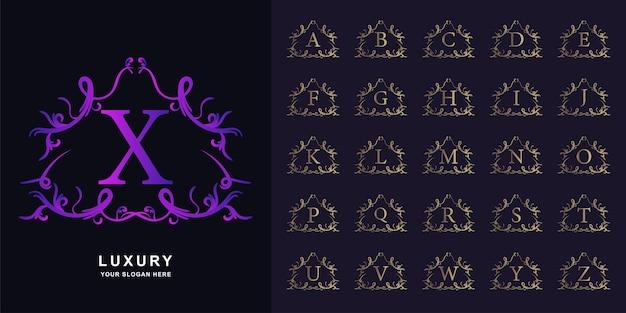 문자 x 또는 럭셔리 장식 꽃 프레임 황금 로고 템플릿 컬렉션 초기 알파벳.
