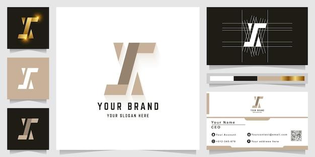 名刺デザインの文字xまたはzモノグラムロゴ