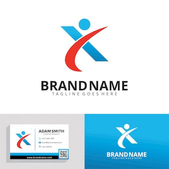 Letter x simple logo template