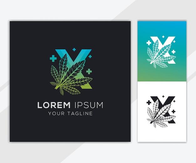 抽象的な大麻のロゴのテンプレートと文字x