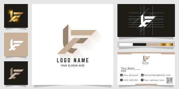 名刺デザインの文字xeまたはxfモノグラムロゴ