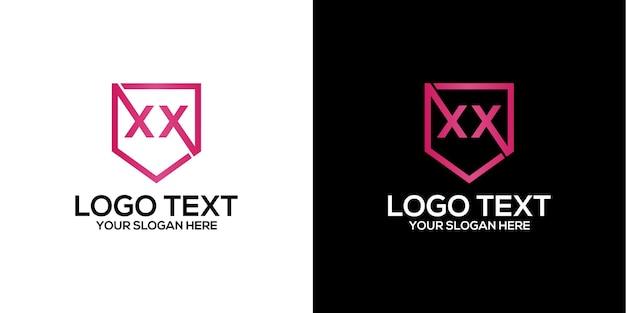 文字xxロゴデザインベクトルプレミアムベクトル
