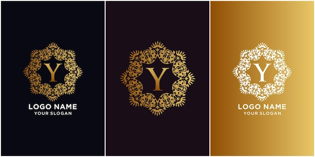 Letter y initial alphabet with luxury ornament floral frame logo template.
