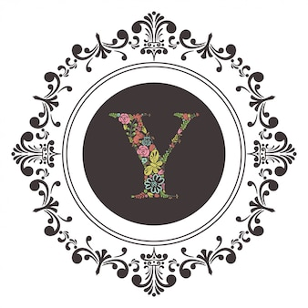 Letter y initial with floral vector