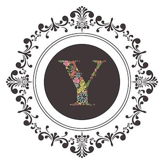 文字aの頭文字と花のベクトル